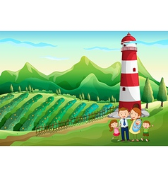 A family at the farm with a high tower vector image