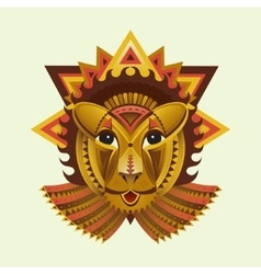 Geometric face of lion builded from circles vector image