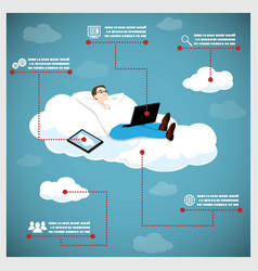 Happy Business Man on a Cloud Infographic Icons vector image