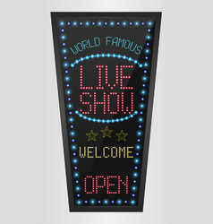 retro sign with blue lights and the word live show vector image vector image