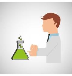 Scientist worker research filled beaker vector