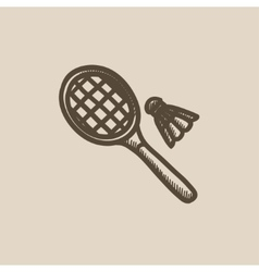 Shuttlecock and badminton racket sketch icon vector image