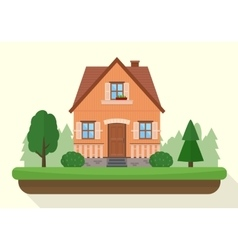 Small house with evening or night landscape vector image vector image