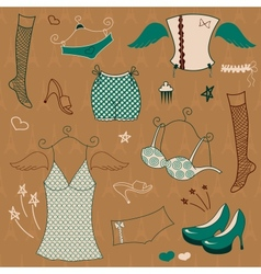 woman clothes set vector image vector image