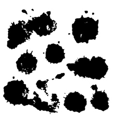 Black watercolor spots Ink vector image