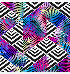 Bright colors exotic leaves on geometric vector