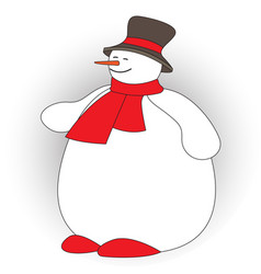 cute fat snowman on white background vector image
