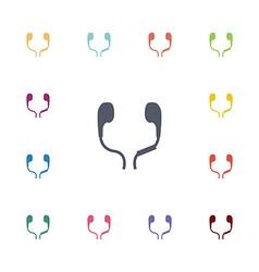 headphones flat icons set vector image vector image