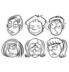 people with different facail expressions vector image