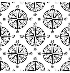 Seamless vintage navigation compass pattern vector image