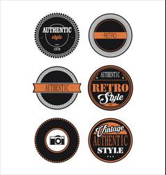 vintage labels black and orange set 3 vector image