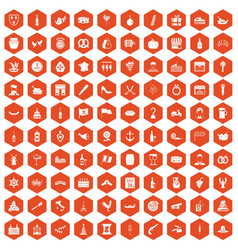 100 alcohol icons hexagon orange vector image