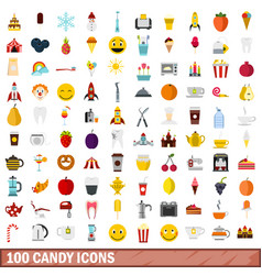 100 candy icons set flat style vector