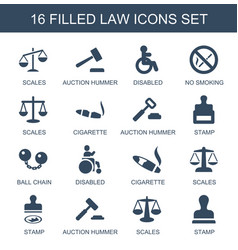16 law icons vector