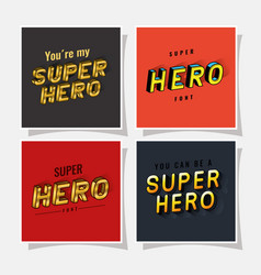 3d super hero lettering set on red and gray vector image