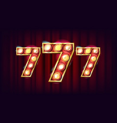 777 banner casino 3d glowing element for vector image