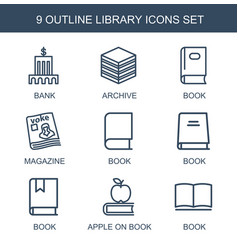 9 library icons vector