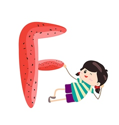 A Kid Leaning on a Letter F vector
