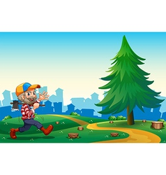 A woodman walking while carrying an axe at the vector