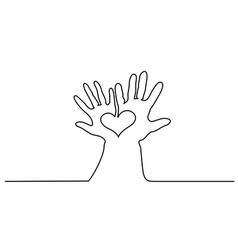 abstract hands woman and man holding heart vector image