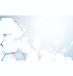 Abstract white hexagons repeating and futuristic vector