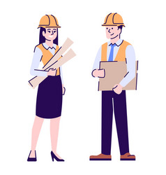 Architects flat characters construction project vector