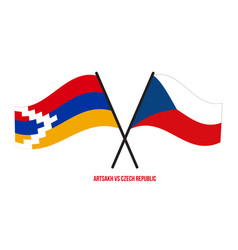 Artsakh and czech republic flags crossed vector