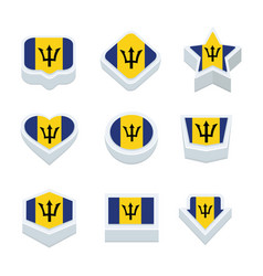 Barbados flags icons and button set nine styles vector