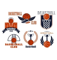 Basketball game icons with sport items vector image