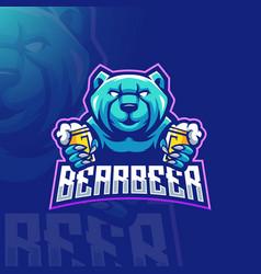 Bear beer mascot logo vector