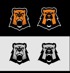 bear head sports logo great for sports logotypes vector image