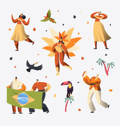 brazil carnival dancer character set woman dance vector image