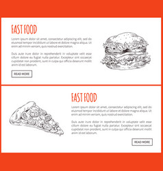 Burger and pizza take away fast food landing page vector