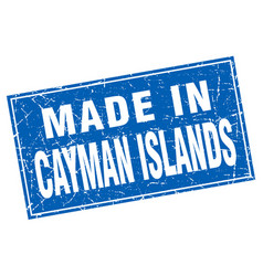 Cayman islands blue square grunge made in stamp vector