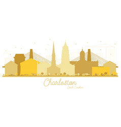 Charleston south carolina city skyline golden vector