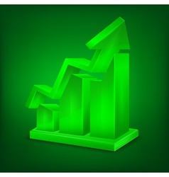 Chart icon in green vector image