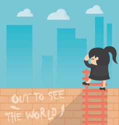 Concept cartoon business woman out to see worl vector