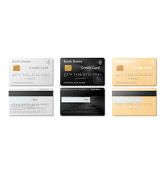 credit cards realistic pay cards mockup vector image