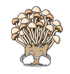 crying enoki mushroom mascot cartoon vector image