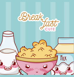 Cute breakfast kawaii cartoon vector
