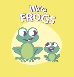 cute cartoon style frogs with title above on vector image