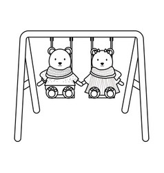 cute polar bears couple in swing vector image