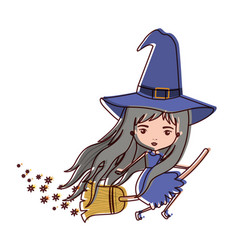 cute witch flying with broom colorful and trace of vector image