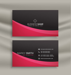 dark business card design with wavy shape vector image