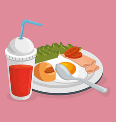 delicious food breakfast menu vector image
