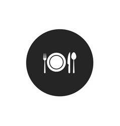 dinner icon plate with fork knife and spoon vector image