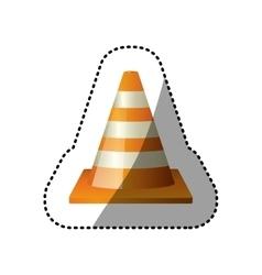 Dotted sticker striped traffic cone icon vector