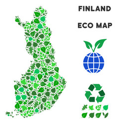 eco green collage finland map vector image