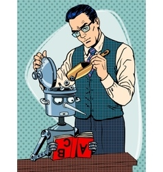 Education scientist teacher robot student vector