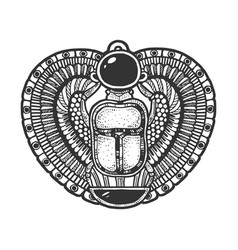 Egypt scarab beetle sketch engraving vector